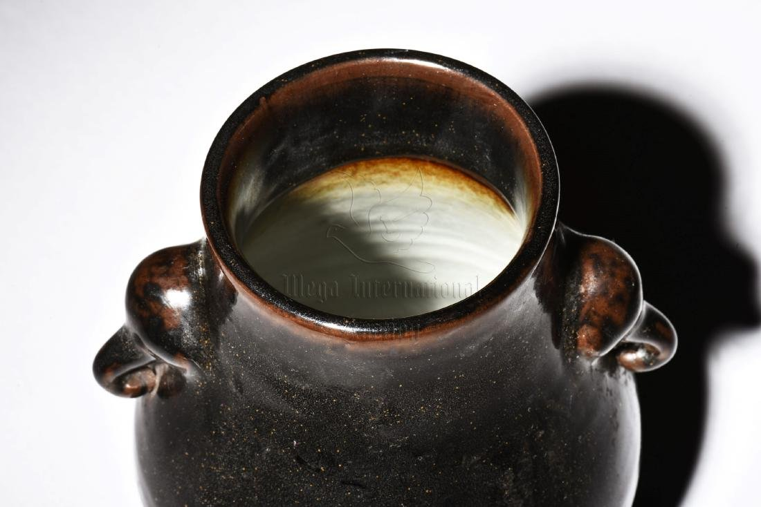 BLACK GLAZED JAR WITH ELEPHANT MASK HANDLES - 9