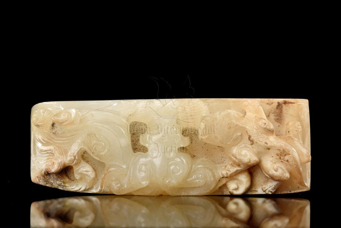 JADE CARVED 'MYTHICAL BEAST' SWORD ORNAMENT - 5