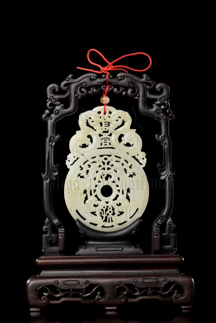 PAIR OF WHITE JADE CARVED HANGING PLAQUES WITH WOODEN - 10