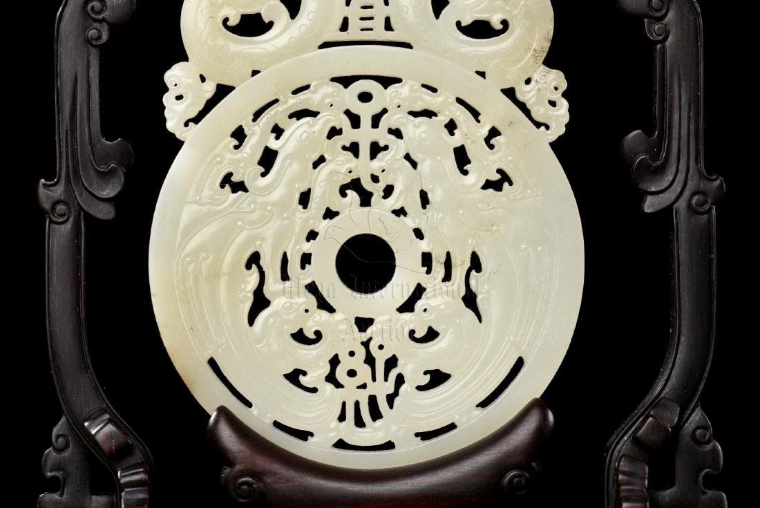 PAIR OF WHITE JADE CARVED HANGING PLAQUES WITH WOODEN - 7