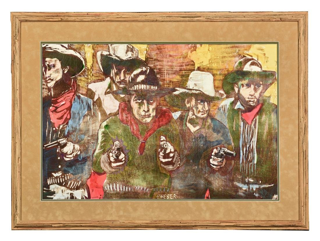 MAX WEBER: FRAMED OIL ON CANVAS PAINTING 'COWBOYS'