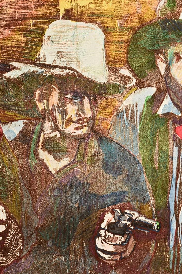 MAX WEBER: FRAMED OIL ON CANVAS PAINTING 'COWBOYS' - 3
