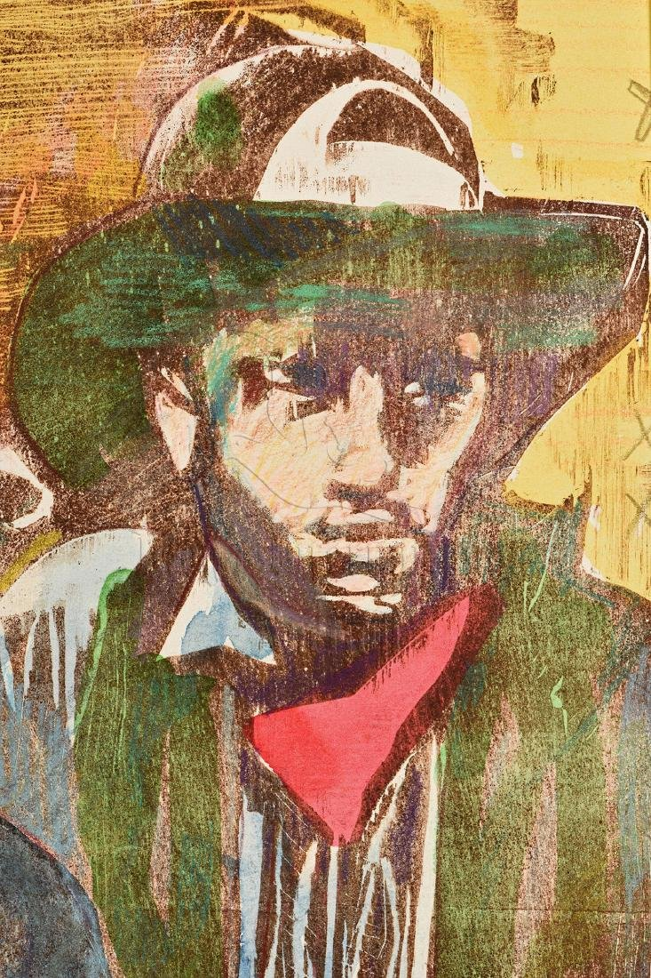 MAX WEBER: FRAMED OIL ON CANVAS PAINTING 'COWBOYS' - 4