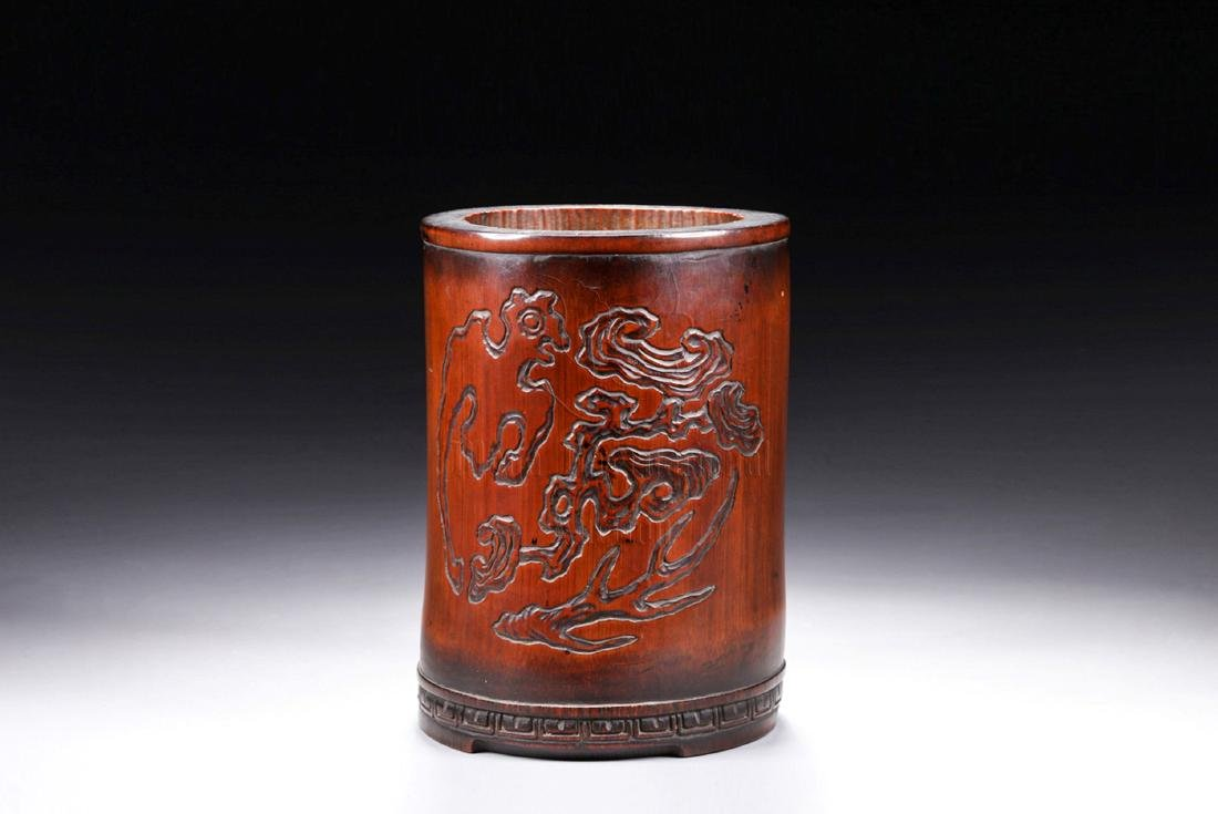 BAMBOO CARVED 'CHILONG' BRUSH POT - 5