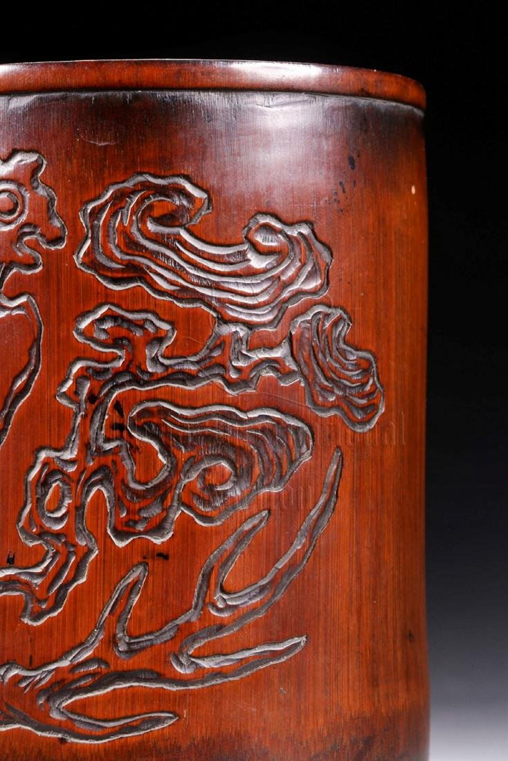 BAMBOO CARVED 'CHILONG' BRUSH POT - 6