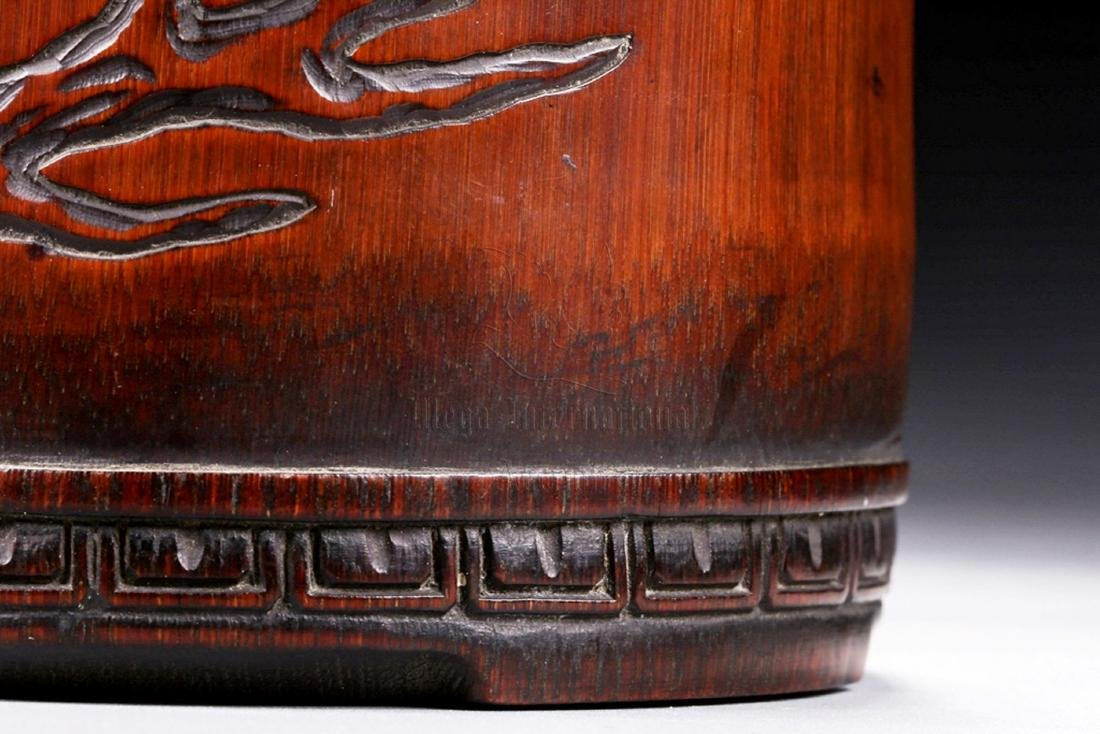 BAMBOO CARVED 'CHILONG' BRUSH POT - 7