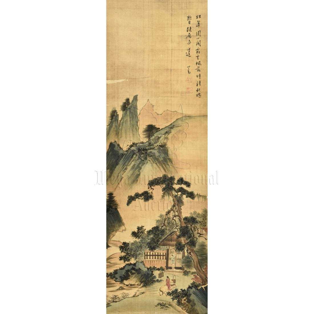 PU XINYU: INK AND COLOR ON SILK PAINTING 'LANDSCAPE