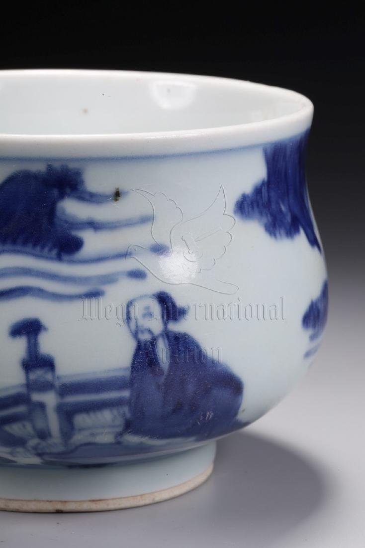 BLUE AND WHITE 'PEOPLE' HAND WARMER - 2
