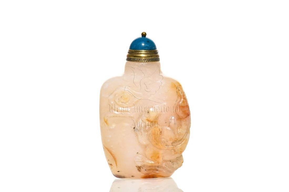 AGATE CARVED SNUFF BOTTLE
