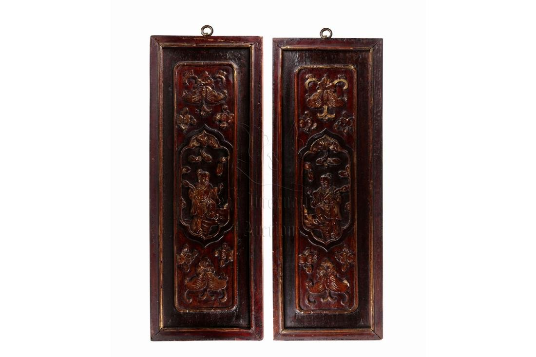 PAIR OF GILT WOOD CARVED 'CHILDREN' PLAQUES