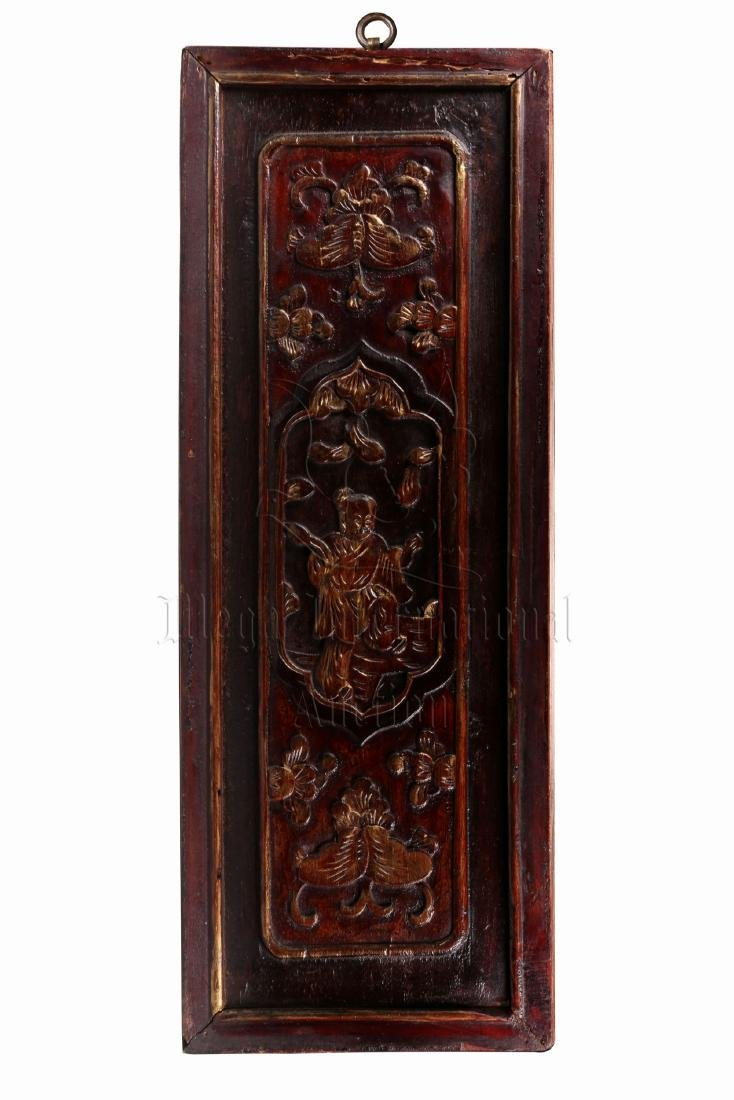 PAIR OF GILT WOOD CARVED 'CHILDREN' PLAQUES - 2