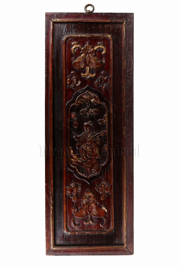 PAIR OF GILT WOOD CARVED 'CHILDREN' PLAQUES - 7