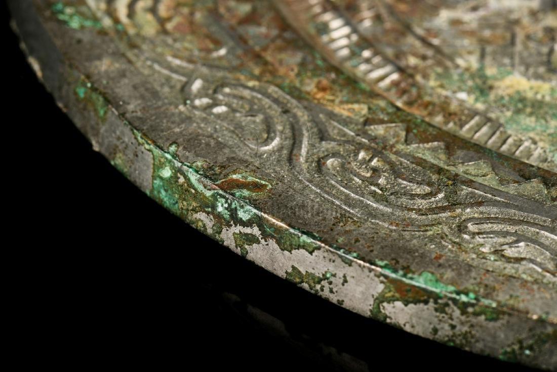 ARCHAIC BRONZE CAST 'ZODIAC' MIRROR - 8