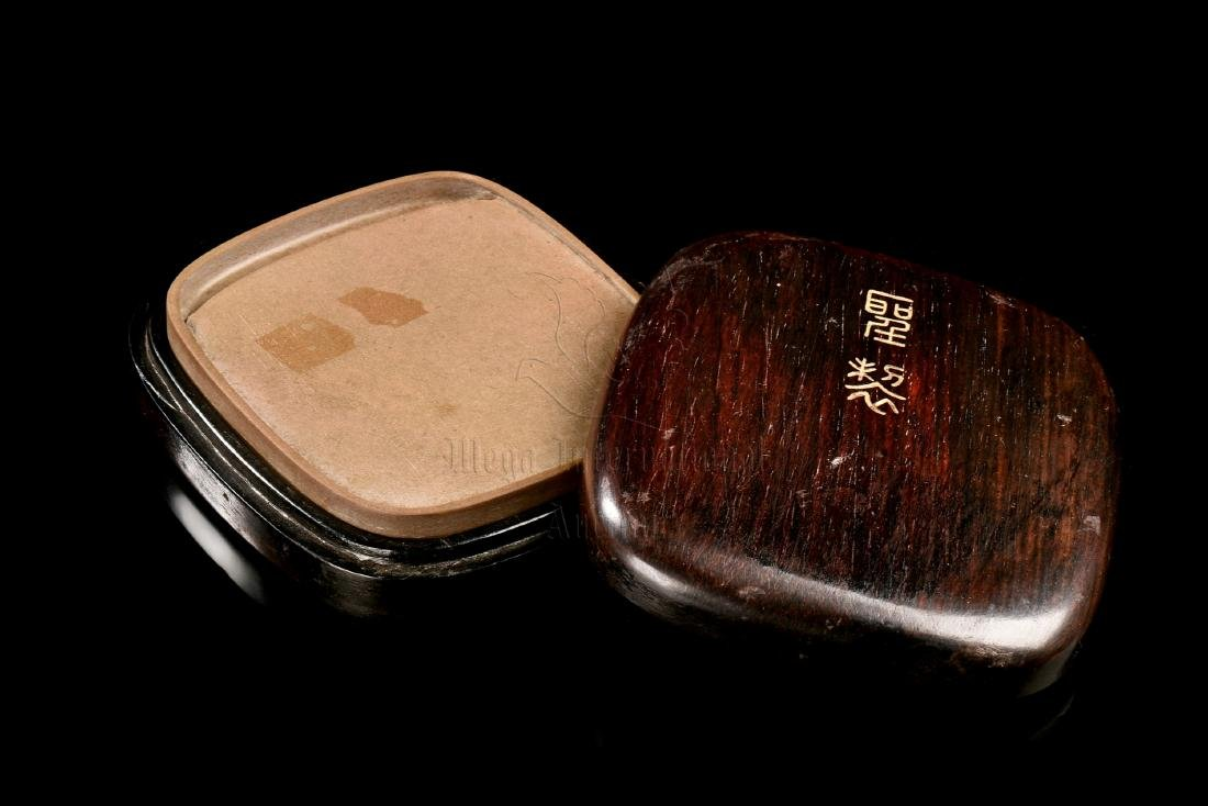 INKSTONE WITH INSCRIPTION AND WOODEN BOX