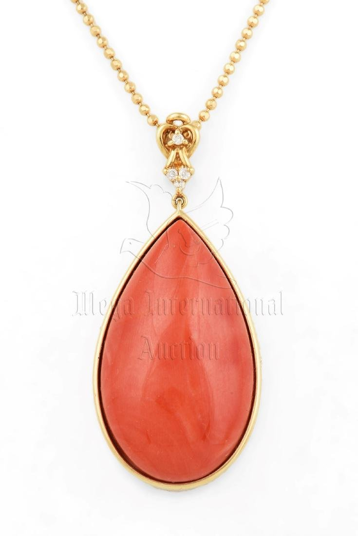 RED CORAL PENDANT WITH 18K YG NECKLACE - 2