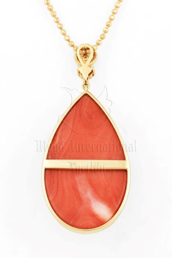 RED CORAL PENDANT WITH 18K YG NECKLACE - 3