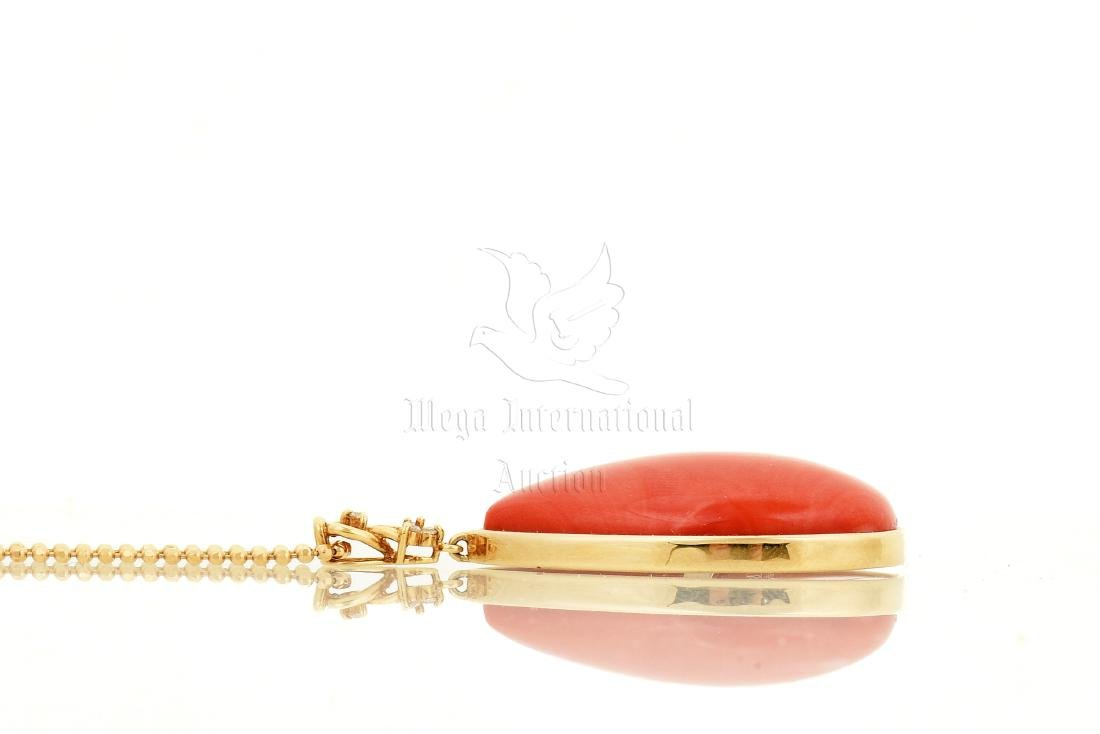 RED CORAL PENDANT WITH 18K YG NECKLACE - 4