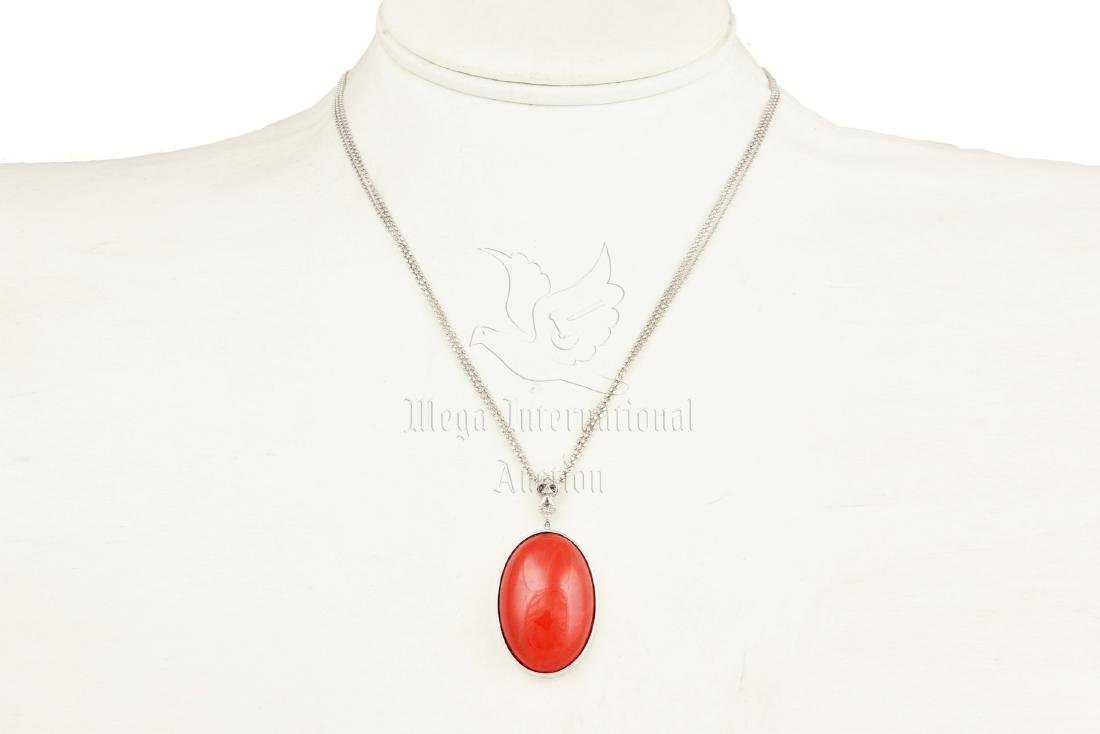 RED CORAL PENDANT WITH 18K WG NECKLACE