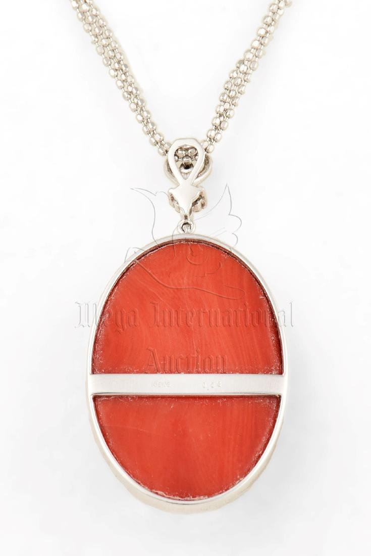 RED CORAL PENDANT WITH 18K WG NECKLACE - 3