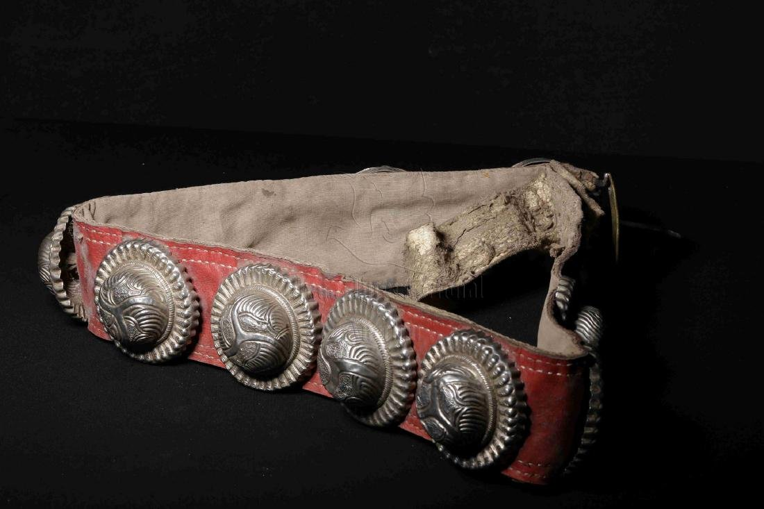 LEATHER AND SILVER BELT INSET WITH GEMSTONES - 2