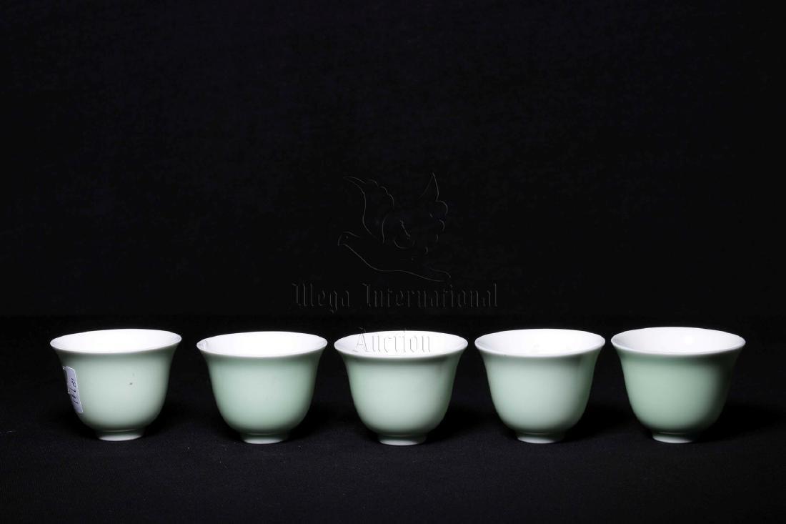 SET OF FIVE CELADON GLAZED CUPS - 4