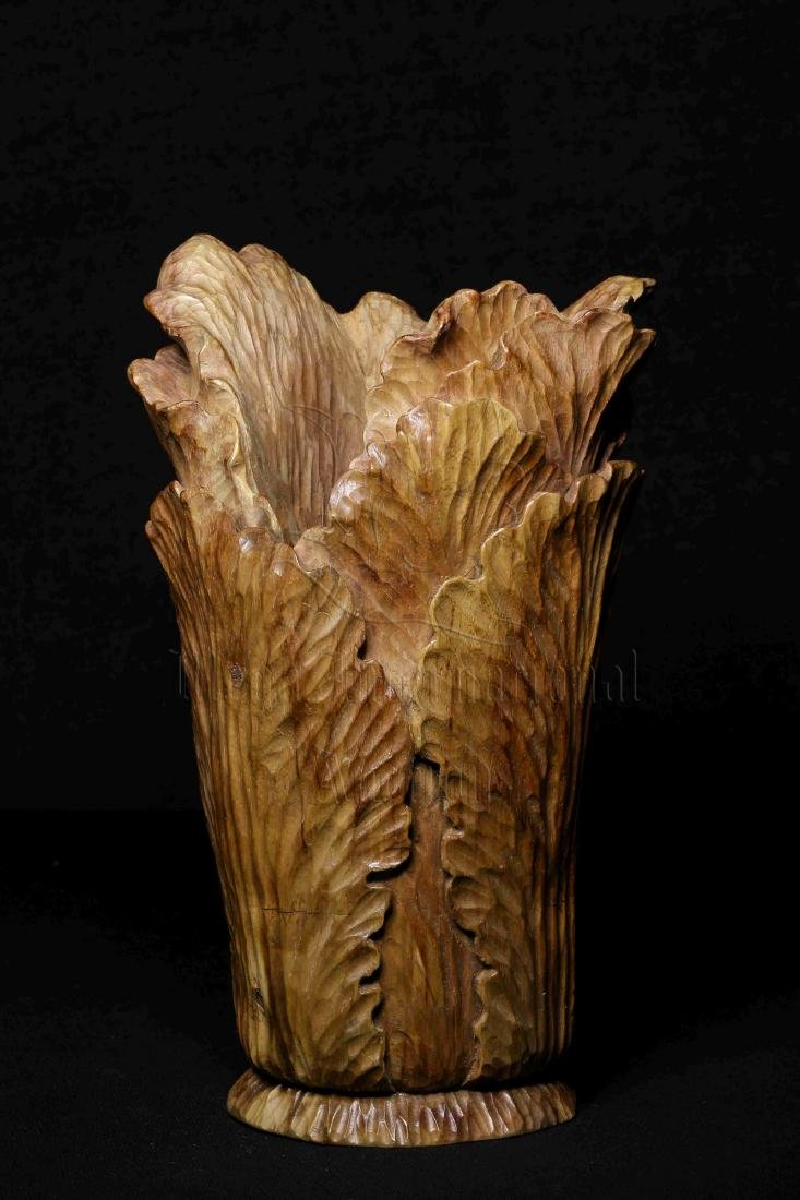 WOOD CARVED 'CHINESE CABBAGE' FIGURE