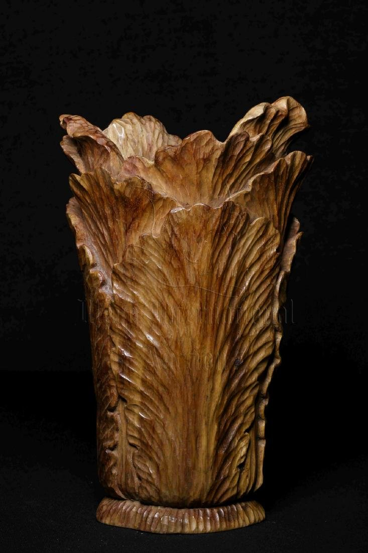 WOOD CARVED 'CHINESE CABBAGE' FIGURE - 8