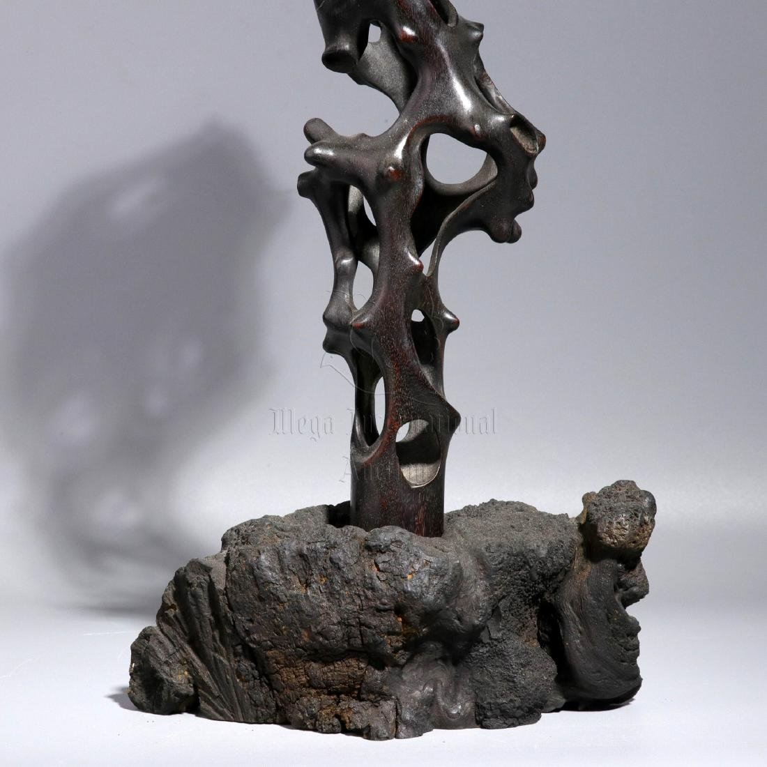 ZITAN WOOD CARVED 'LINGBI STONE' FIGURE WITH STAND - 2