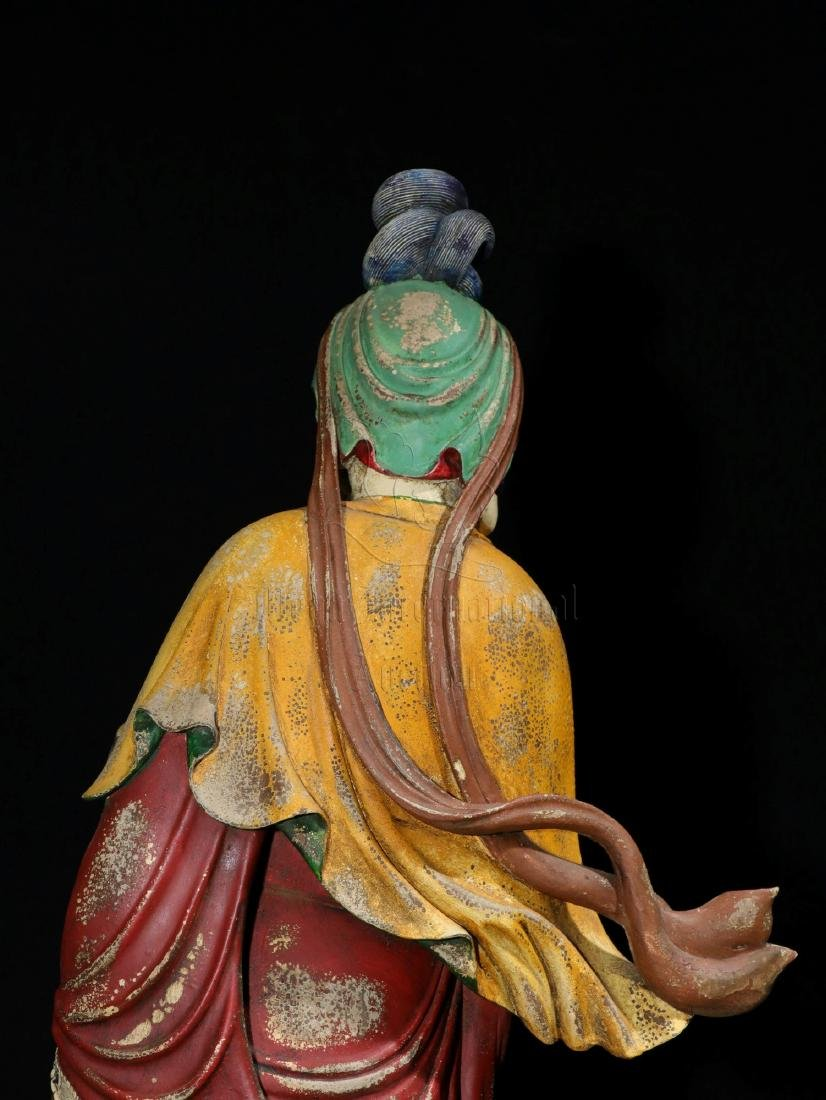 NAN WOOD PAINTED AND CARVED GUANYIN FIGURE - 10