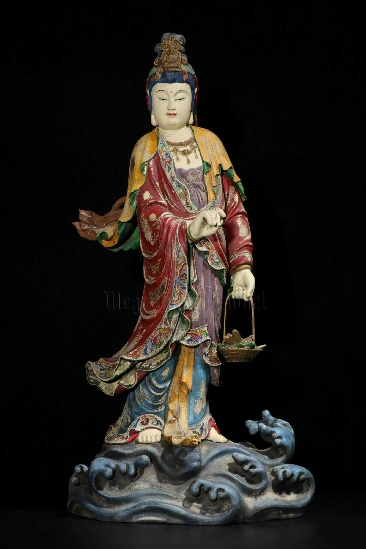 NAN WOOD PAINTED AND CARVED GUANYIN FIGURE