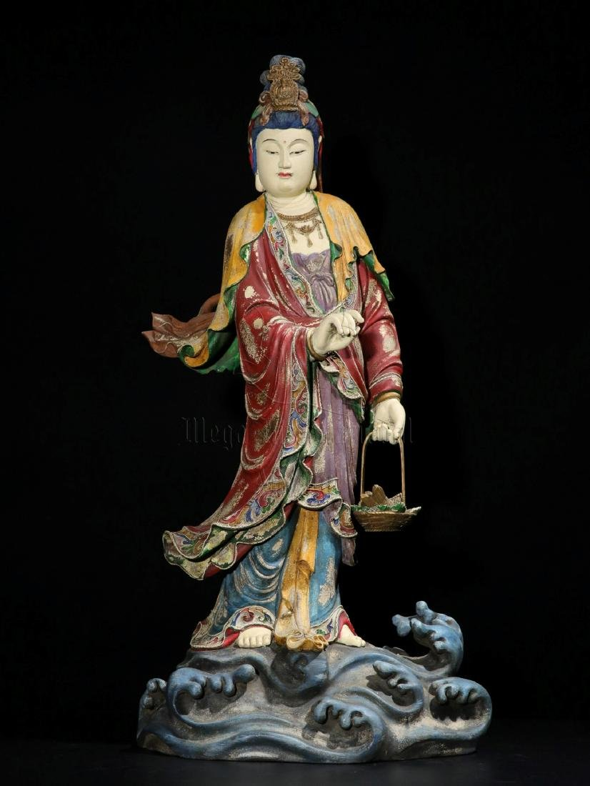 NAN WOOD PAINTED AND CARVED GUANYIN FIGURE - 2