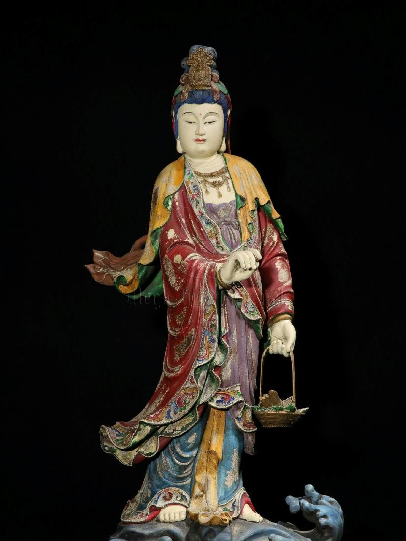NAN WOOD PAINTED AND CARVED GUANYIN FIGURE - 3