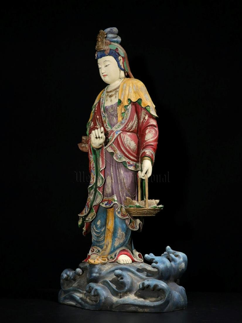 NAN WOOD PAINTED AND CARVED GUANYIN FIGURE - 5