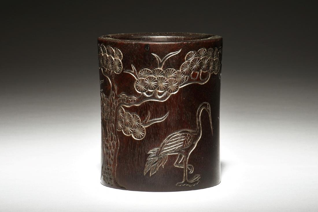 ZITAN WOOD CARVED 'CRANES' BRUSH POT