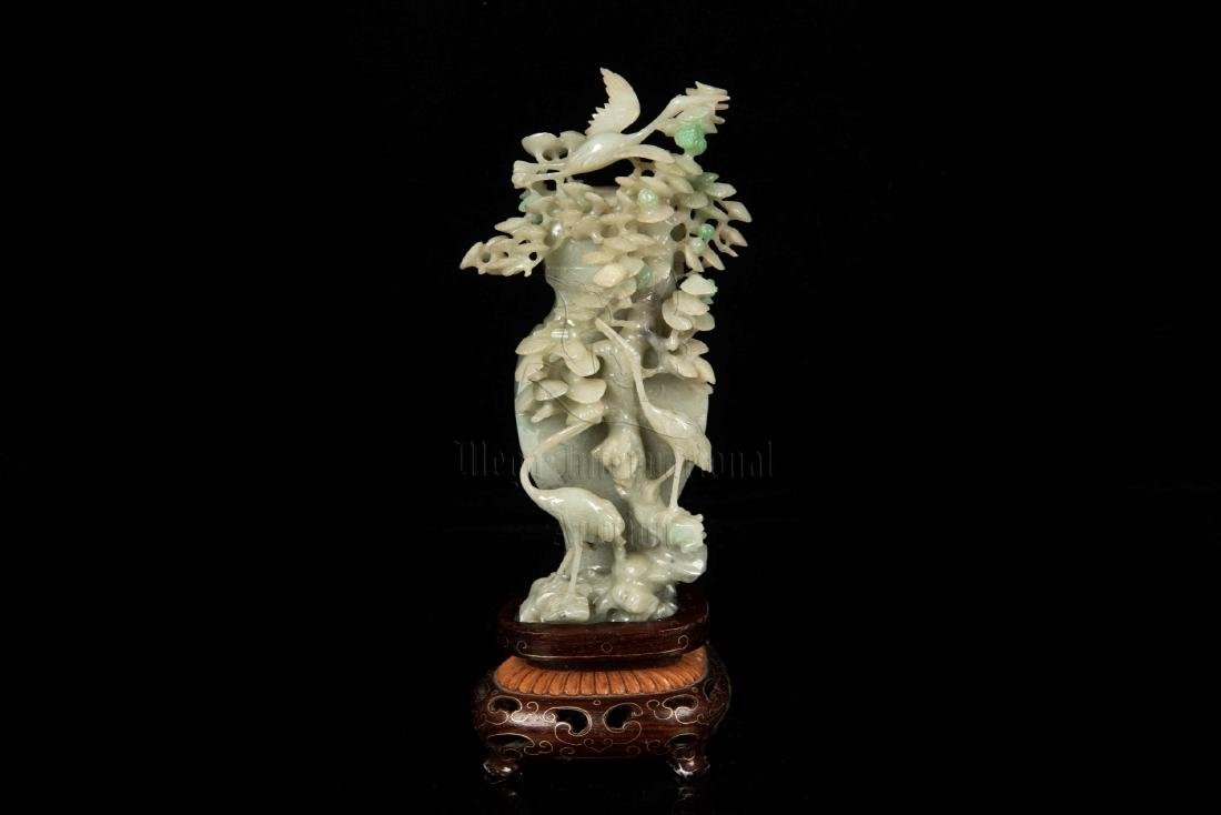 JADEITE CARVED 'CRANES' BOTTLE VASE WITH LID AND STAND