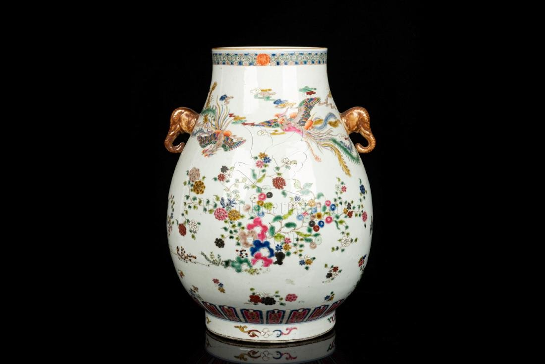FAMILLE ROSE 'PHOENIX AND FLOWERS' VASE, ZUN