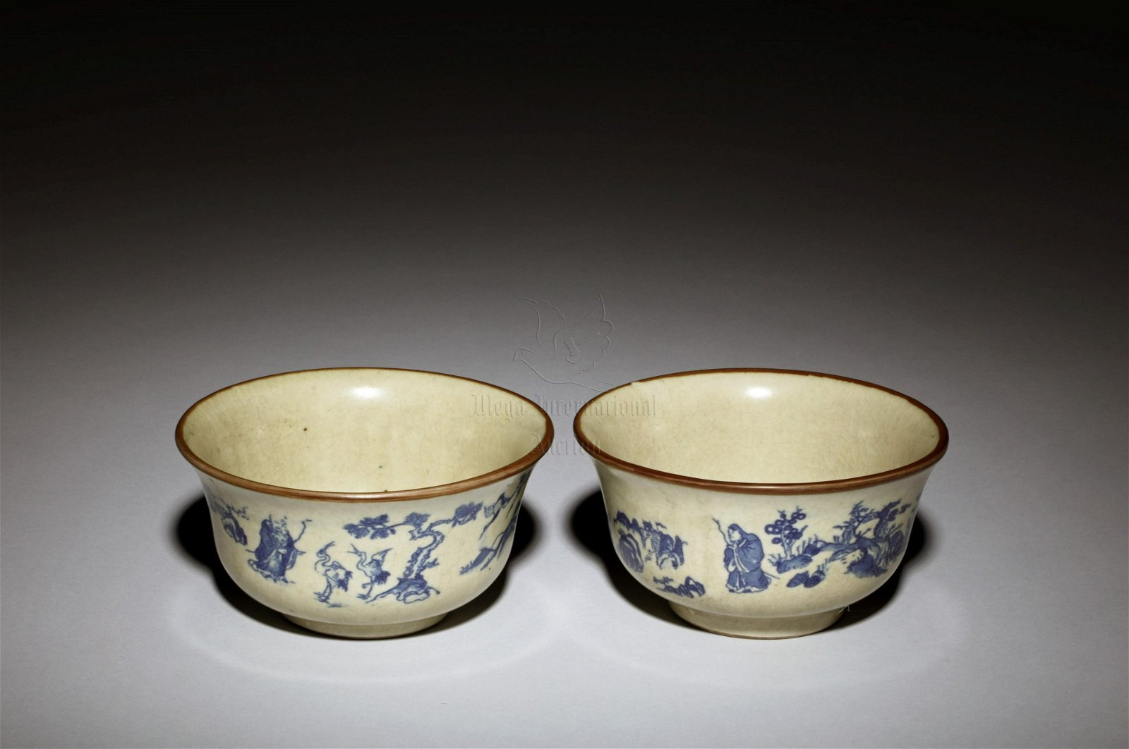 PAIR OF BLUE AND WHITE
