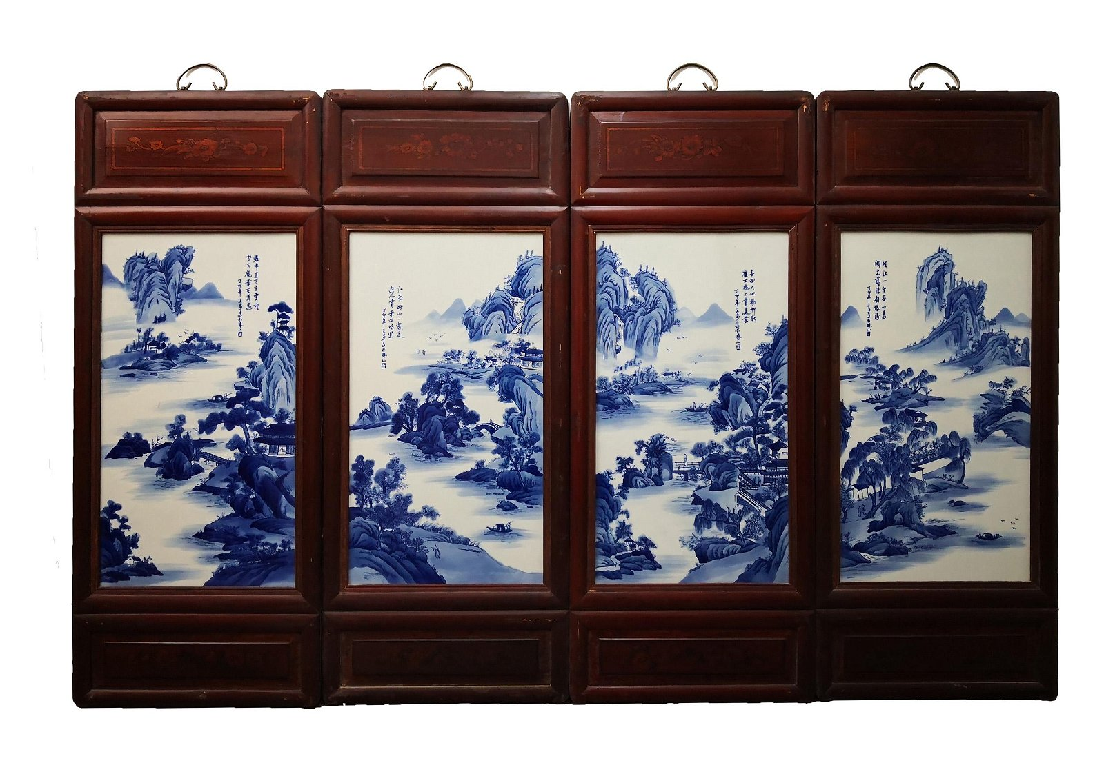 4 CHINESE BLUE&WHITE LANDSCAPE PORCELAIN PLATE PAINTING