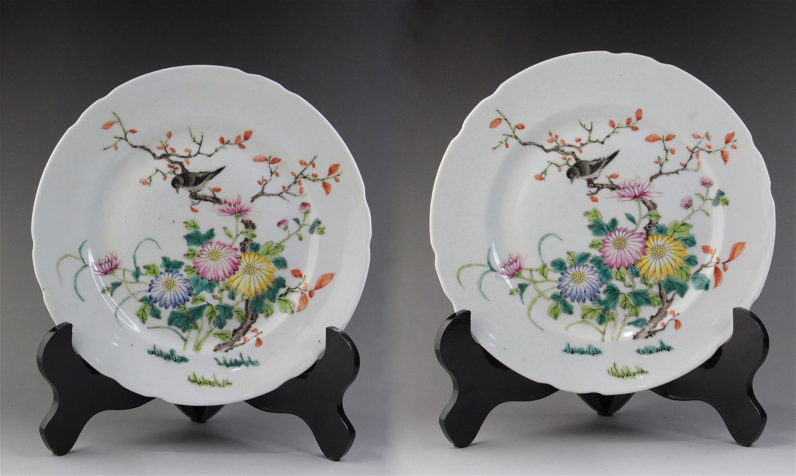 A PAIR OF CHINESE FAMILLE ROSE FLOWER&BIRD PATTERN