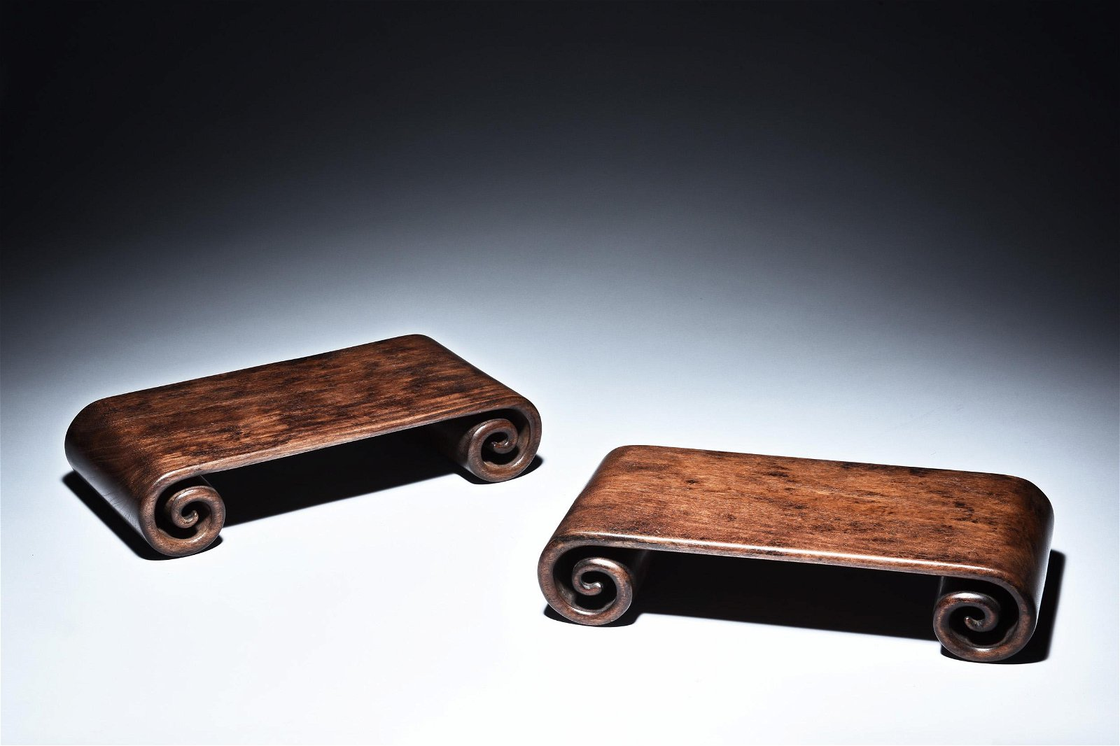 PAIR OF HUANGHUALI WOOD SCROLL STANDS