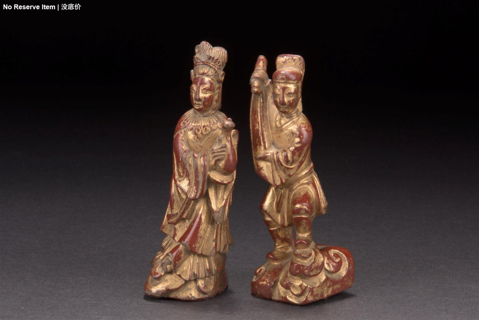 TWO CHINESE GILT WOOD CARVED FIGURES