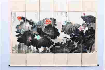 A GROUP OF FOUR CHINESE PAINTINGS OF LOTUS,ZHANG DAQIAN