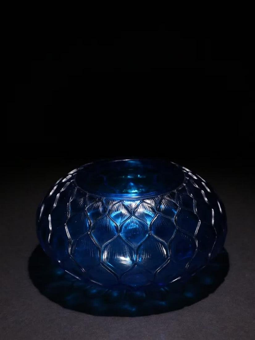 A CHINESE BLUE GLASS CARVED LOTUS PATTERN BRUSH WASHER