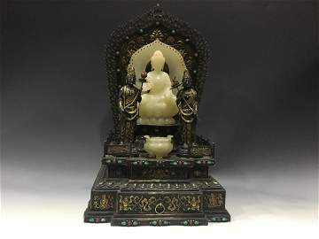 GILT SILVER CAST AND ORNATE BUDDHA NICHE WITH JADE