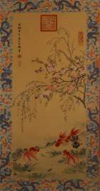 A CHINESE GOLDFISH PAINTING, EMPRESS DOWAGER CI XI MARK