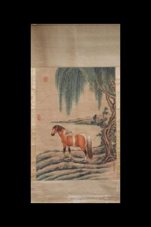 LANG SHINING: INK AND COLOR ON SILK PAINTING 'HORSE'