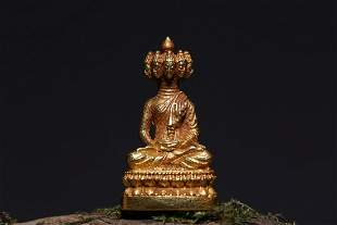 GOLD CARVED 'NINE-HEADED BODHISATTVA' SEATED SMALL