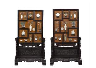 PAIR OF WOOD FRAMED AND JADE INLAID SCREEN PANELS