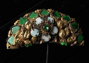 A CHINESE GEMS-INLAID GILT BRONZE HAIRPIN, QING DYNASTY