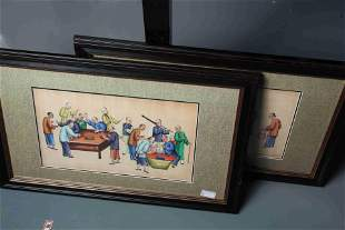 A PAIR OF CHINESE PITH PAINTINGS OF CRICKET FIGHTING,
